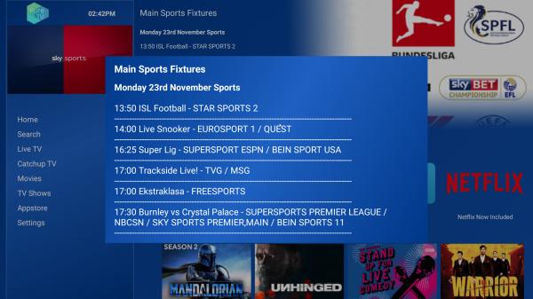 PureTV - Sport Fixtures